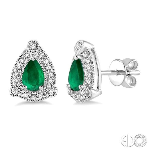 5x3 mm Pear Shape Emerald and 1/6 Ctw Round Cut Diamond Earrings in 10K White Gold Grogan Jewelers Florence, AL