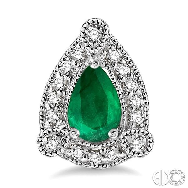 5x3 mm Pear Shape Emerald and 1/6 Ctw Round Cut Diamond Earrings in 10K White Gold Image 2 Grogan Jewelers Florence, AL