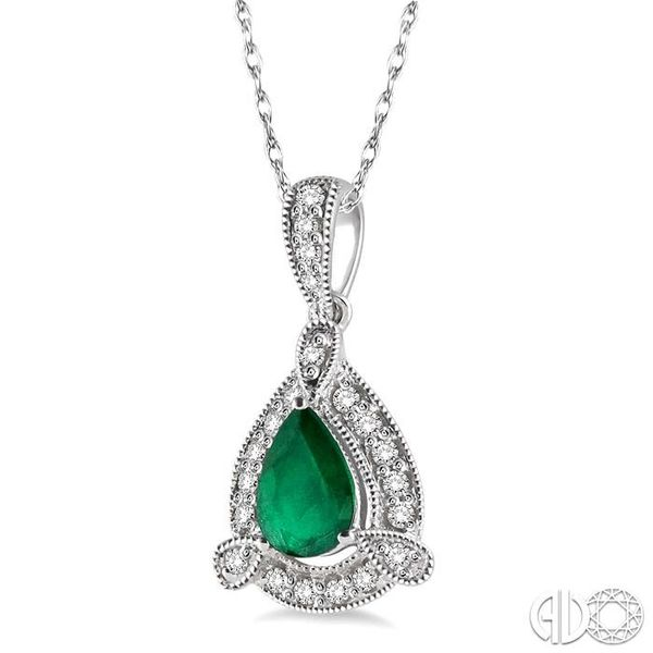 6x4 mm Pear Shape Emerald and 1/10 Ctw Round Cut Diamond Pendant in 10K White Gold with Chain Image 2 Grogan Jewelers Florence, AL