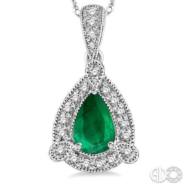 6x4 mm Pear Shape Emerald and 1/10 Ctw Round Cut Diamond Pendant in 10K White Gold with Chain Image 3 Grogan Jewelers Florence, AL