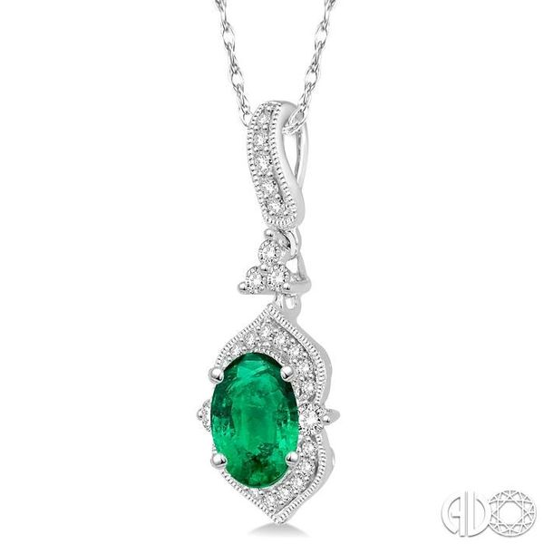 6x4 MM Oval Shape Emerald and 1/5 Ctw Diamond Pendant in 14K White Gold with Chain Image 2 Grogan Jewelers Florence, AL