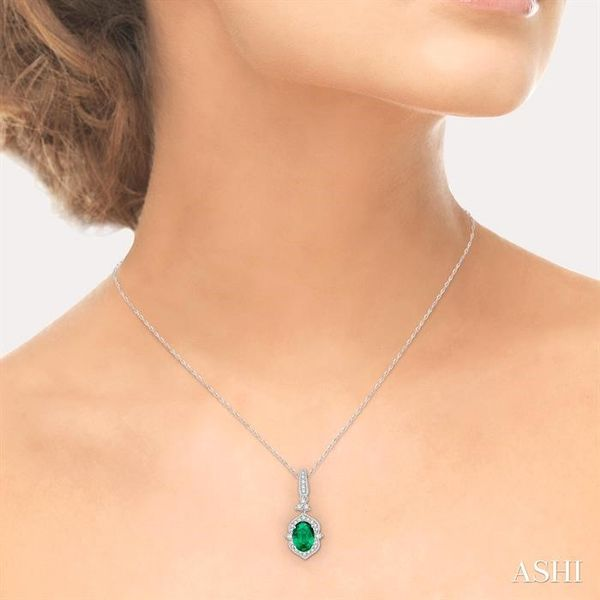 6x4 MM Oval Shape Emerald and 1/5 Ctw Diamond Pendant in 14K White Gold with Chain Image 4 Grogan Jewelers Florence, AL