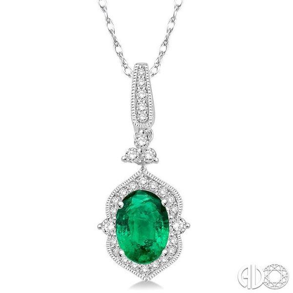 6x4 MM Oval Shape Emerald and 1/5 Ctw Diamond Pendant in 14K White Gold with Chain Grogan Jewelers Florence, AL