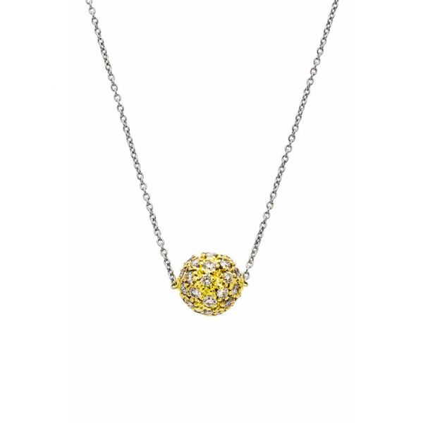 The Disco Necklace with White Diamonds in Yellow Gold Grogan Jewelers Florence, AL
