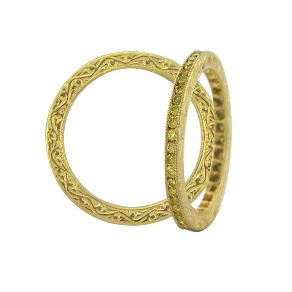 No. 6 Stacked Bands in White and Yellow Gold Image 3 Grogan Jewelers Florence, AL