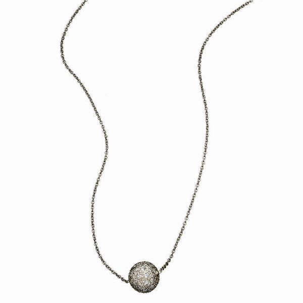 The Disco Ball Necklace with Champagne diamonds in Blackened Gold Grogan Jewelers Florence, AL