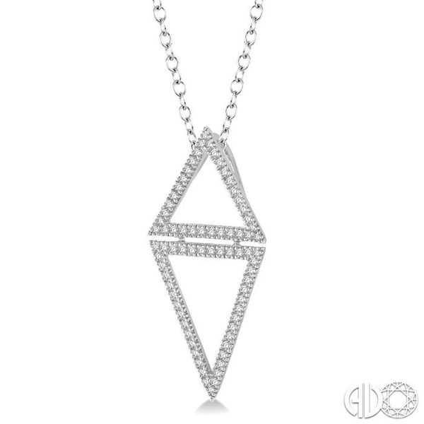 1/4 Ctw Reversed Double Triangle Round Cut Diamond Pendant With Link Chain in 14K White Gold Image 2 Grogan Jewelers Florence, AL