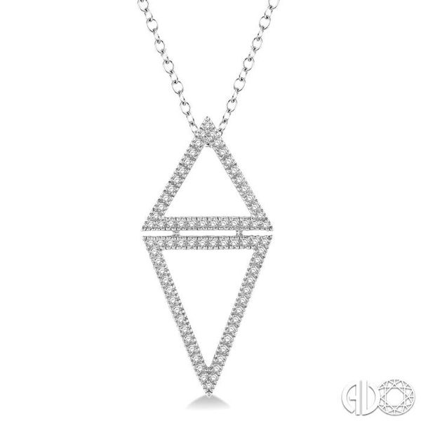 1/4 Ctw Reversed Double Triangle Round Cut Diamond Pendant With Link Chain in 14K White Gold Grogan Jewelers Florence, AL