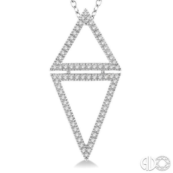 1/4 Ctw Reversed Double Triangle Round Cut Diamond Pendant With Link Chain in 14K White Gold Image 3 Grogan Jewelers Florence, AL