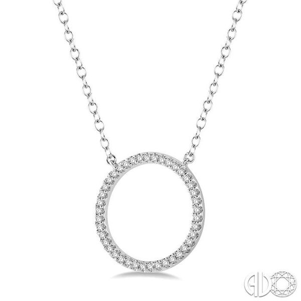 1/6 Ctw Geometric Circle Round Cut Diamond Pendant With Link Chain in 10K White Gold Image 2 Grogan Jewelers Florence, AL