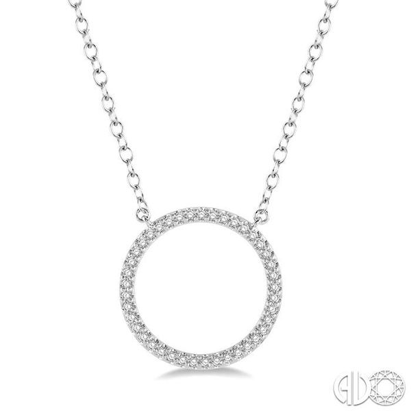 1/6 Ctw Geometric Circle Round Cut Diamond Pendant With Link Chain in 10K White Gold Grogan Jewelers Florence, AL