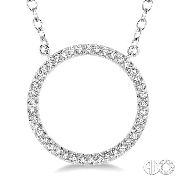 1/6 Ctw Geometric Circle Round Cut Diamond Pendant With Link Chain in 10K White Gold Image 3 Grogan Jewelers Florence, AL