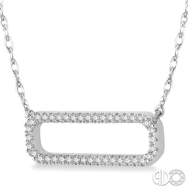 1/6 Ctw Round Cut Diamond Rounded Rectangle Necklace in 10K White Gold Image 2 Grogan Jewelers Florence, AL