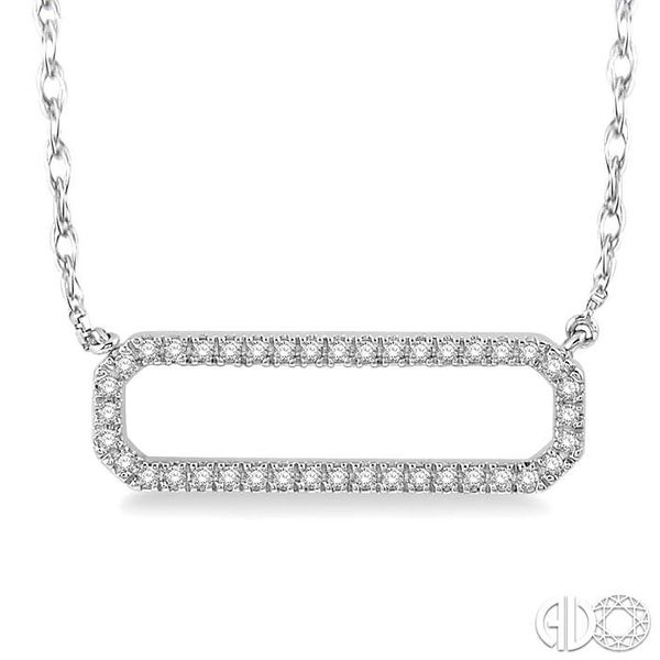 1/6 Ctw Round Cut Diamond Rounded Rectangle Necklace in 10K White Gold Grogan Jewelers Florence, AL
