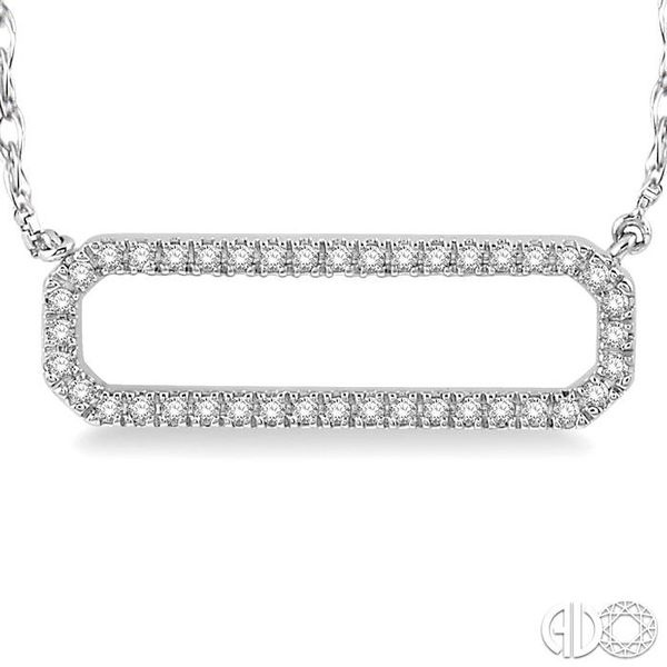 1/6 Ctw Round Cut Diamond Rounded Rectangle Necklace in 10K White Gold Image 3 Grogan Jewelers Florence, AL