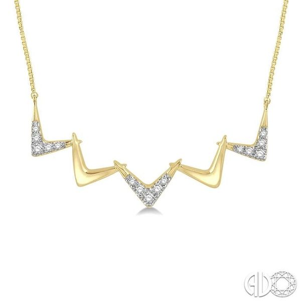 1/6 Ctw Connecting V-shape Pendant Round Cut Diamond Necklace in 10K Yellow Gold Grogan Jewelers Florence, AL