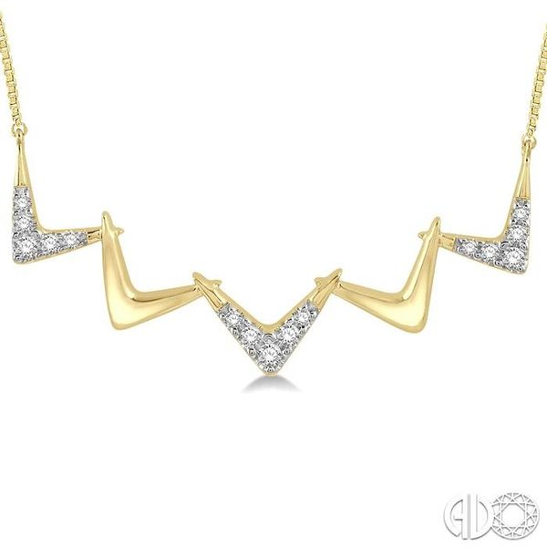 1/6 Ctw Connecting V-shape Pendant Round Cut Diamond Necklace in 10K Yellow Gold Image 3 Grogan Jewelers Florence, AL