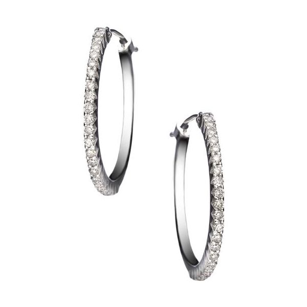 The Simple Elegance Small Hoops in White Gold Grogan Jewelers Florence, AL