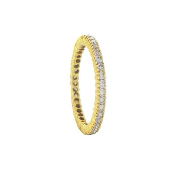 No. 24 Stacked Bands with White Diamonds in Yellow Gold Image 2 Grogan Jewelers Florence, AL