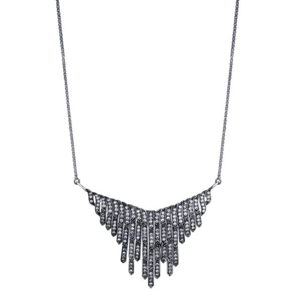 The Fringe Necklace with Multi Color Diamonds in 18K White Gold and Black Rhodium Grogan Jewelers Florence, AL