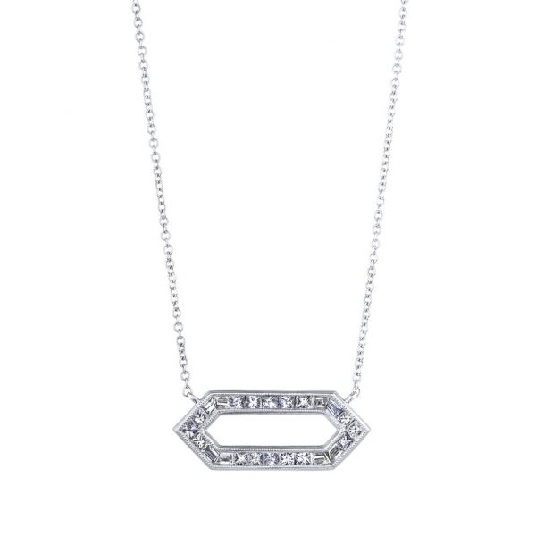 The Kerri Necklace with White Diamonds in White Gold Grogan Jewelers Florence, AL