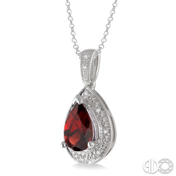 10x7 MM Pear Shape Garnet and 1/20 Ctw Single Cut Diamond Pendant in Sterling Silver with chain Image 2 Grogan Jewelers Florence, AL