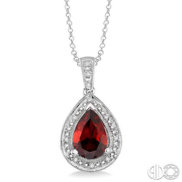10x7 MM Pear Shape Garnet and 1/20 Ctw Single Cut Diamond Pendant in Sterling Silver with chain Grogan Jewelers Florence, AL