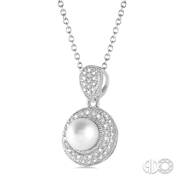 6.5x6.5 mm Cultured Pearl and 1/20 Ctw Single Cut Diamond Pendant in Sterling Silver with Chain Image 2 Grogan Jewelers Florence, AL