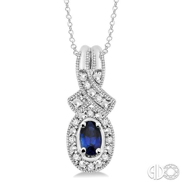5x3 mm Oval Cut Sapphire and 1/50 Ctw Single Cut Diamond Pendant in Sterling Silver with Chain Grogan Jewelers Florence, AL