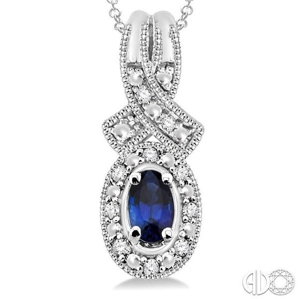 5x3 mm Oval Cut Sapphire and 1/50 Ctw Single Cut Diamond Pendant in Sterling Silver with Chain Image 3 Grogan Jewelers Florence, AL