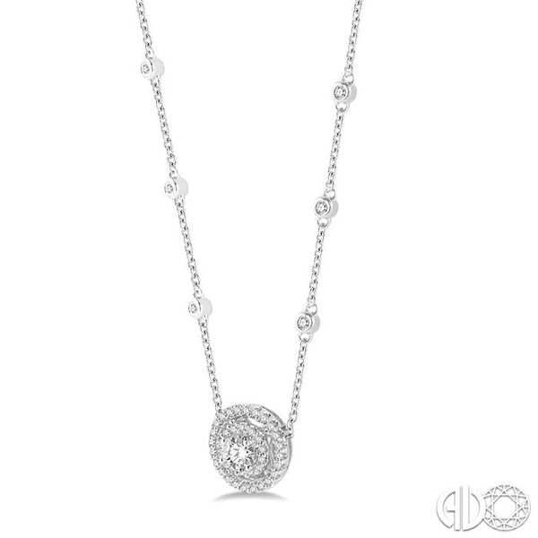 1/3 Ctw Double Halo Round Cut Diamond Pendant With Cable Chain in 14K White Gold Image 2 Grogan Jewelers Florence, AL
