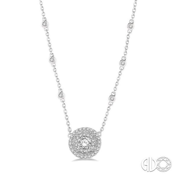 1/3 Ctw Double Halo Round Cut Diamond Pendant With Cable Chain in 14K White Gold Grogan Jewelers Florence, AL