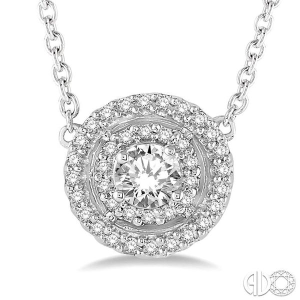 1/3 Ctw Double Halo Round Cut Diamond Pendant With Cable Chain in 14K White Gold Image 3 Grogan Jewelers Florence, AL
