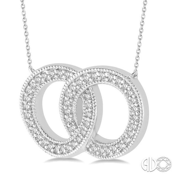 1/5 Ctw Interlocked Double Circle Pendant With Link Chain in 10K White Gold Image 2 Grogan Jewelers Florence, AL