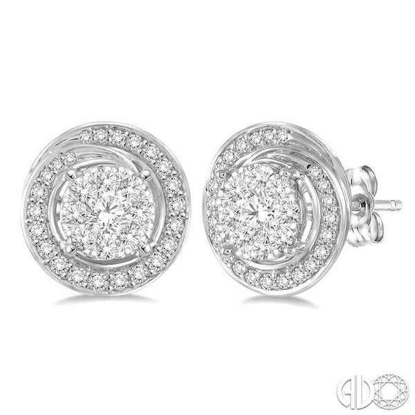 5/8 Ctw Diamond Lovebright Earrings in 14K White Gold Grogan Jewelers Florence, AL