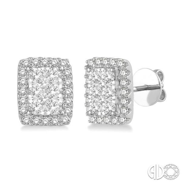 1/2 Ctw Emerald Shape Lovebright Round Cut Diamond Stud Earrings in 14K White Gold Grogan Jewelers Florence, AL