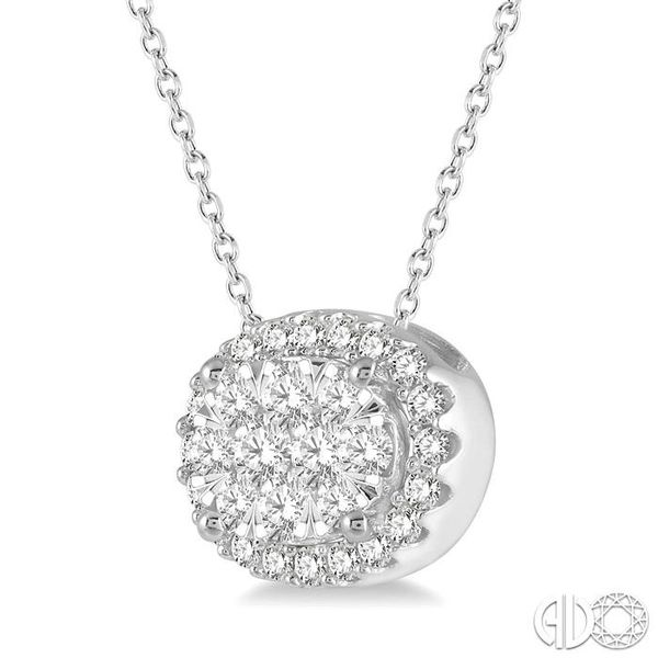1/2 Ctw Oval Shape Lovebright Round Cut Diamond Pendant in 14K White Gold Image 2 Grogan Jewelers Florence, AL