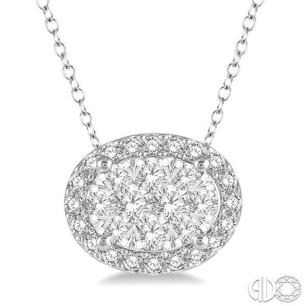 1/2 Ctw Oval Shape Lovebright Round Cut Diamond Pendant in 14K White Gold Grogan Jewelers Florence, AL
