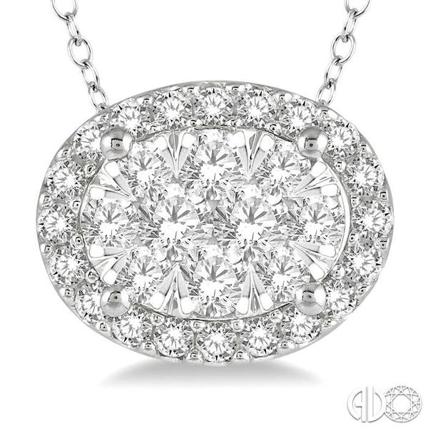 1/2 Ctw Oval Shape Lovebright Round Cut Diamond Pendant in 14K White Gold Image 3 Grogan Jewelers Florence, AL