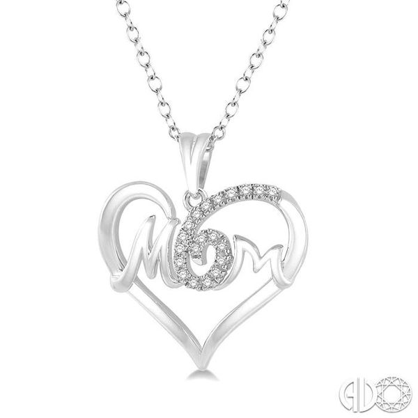 1/20 Ctw MOM Cutout Heart Round Cut Diamond Pendant With Link Chain in 10K White Gold Image 2 Grogan Jewelers Florence, AL