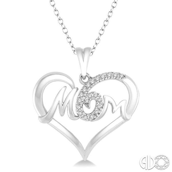1/20 Ctw MOM Cutout Heart Round Cut Diamond Pendant With Link Chain in 10K White Gold Grogan Jewelers Florence, AL