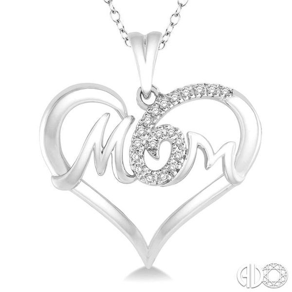 1/20 Ctw MOM Cutout Heart Round Cut Diamond Pendant With Link Chain in 10K White Gold Image 3 Grogan Jewelers Florence, AL