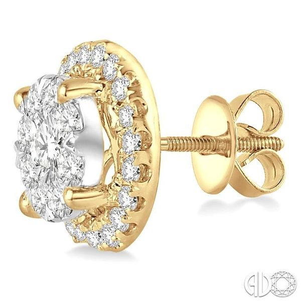 2 Ctw Lovebright Round Cut Diamond Earrings in 14K Yellow Gold Image 3 Grogan Jewelers Florence, AL