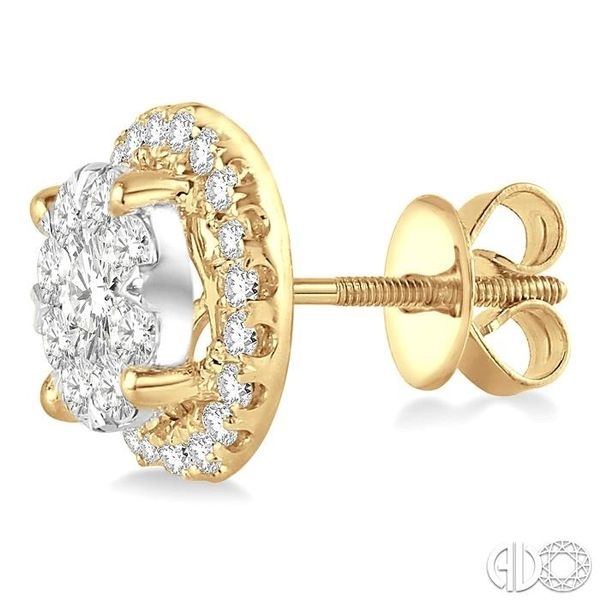1 1/2 Ctw Lovebright Round Cut Diamond Earrings in 14K Yellow and White Gold Image 3 Grogan Jewelers Florence, AL