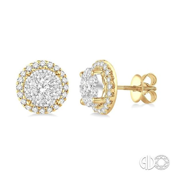 1 1/2 Ctw Lovebright Round Cut Diamond Earrings in 14K Yellow and White Gold Grogan Jewelers Florence, AL