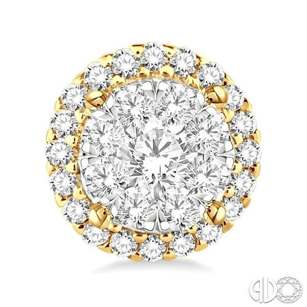 1 1/2 Ctw Lovebright Round Cut Diamond Earrings in 14K Yellow and White Gold Image 2 Grogan Jewelers Florence, AL