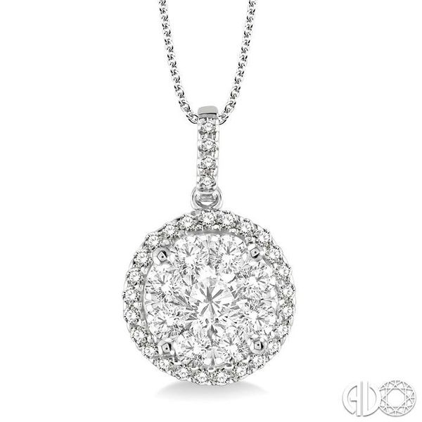 1 1/2 Ctw Lovebright Round Cut Diamond Pendant in 14K White Gold with Chain Grogan Jewelers Florence, AL
