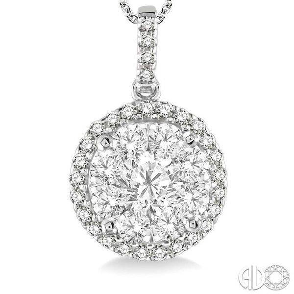 1 1/2 Ctw Lovebright Round Cut Diamond Pendant in 14K White Gold with Chain Image 3 Grogan Jewelers Florence, AL