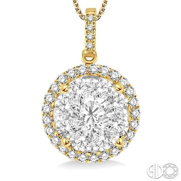 2 Ctw Lovebright Round Cut Diamond Pendant in 14K Yellow Gold with Chain Image 3 Grogan Jewelers Florence, AL