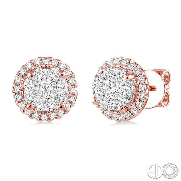 1 Ctw Lovebright Round Cut Diamond Earrings in 14K Rose and White Gold Grogan Jewelers Florence, AL